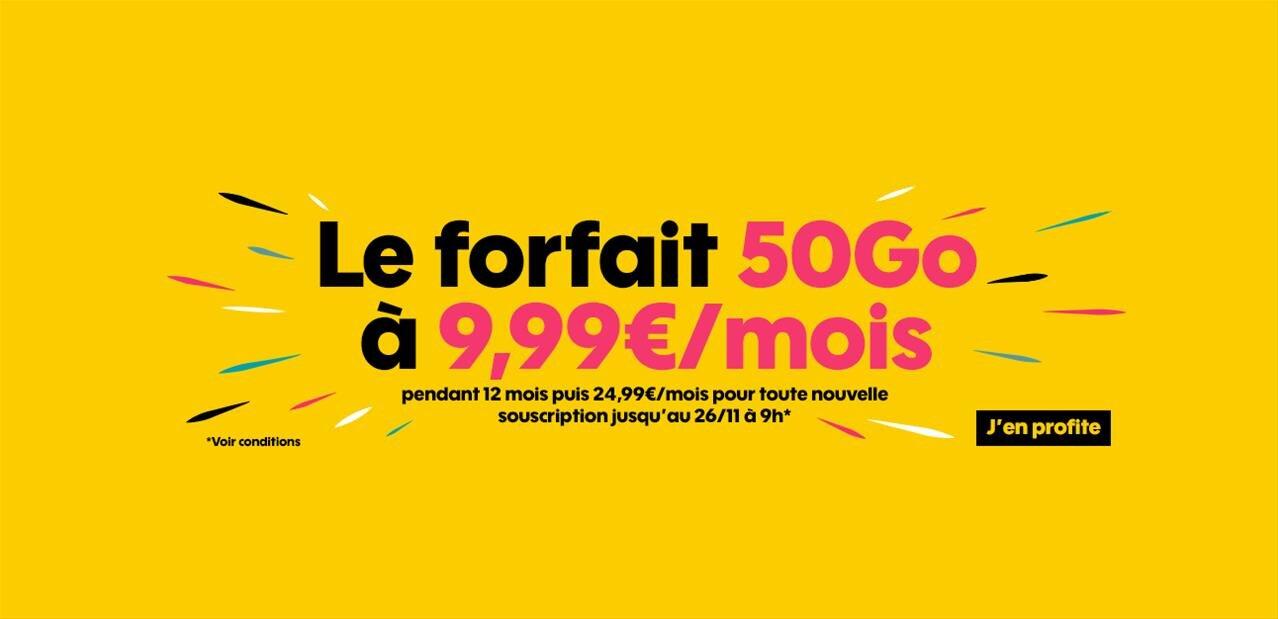 Forfait Sosh avec 50 Go de 4G : 9,99 € par mois pendant un an