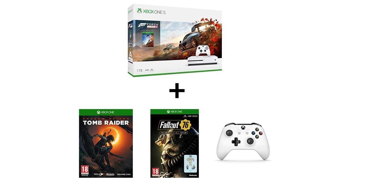 Xbox One S de 1 To avec 2 manettes et 7 jeux à 249,99 euros