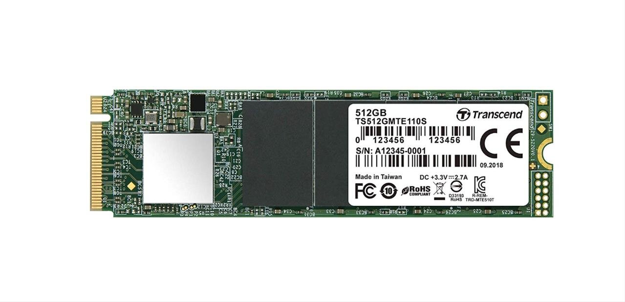 SSD M.2 Transcend 110S de 512 Go (NVMe, 1,8 Go/s) à 79,90 euros