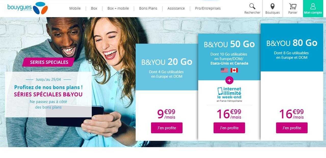 « Série spéciale » B&You : 80 Go pour 16,99 euros, le forfait 50 Go augmente de 2 euros