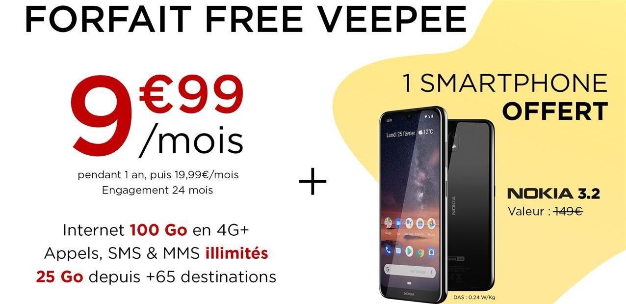 Free Mobile (re)lance un forfait avec engagement 24 mois et smartphone subventionné sur Veepee
