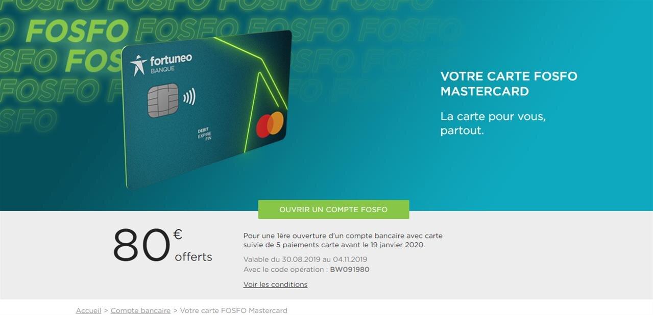 Fortuneo Fosfo : CB « gratuite » sans conditions de revenus, avec « gratuité des frais à l'étranger »