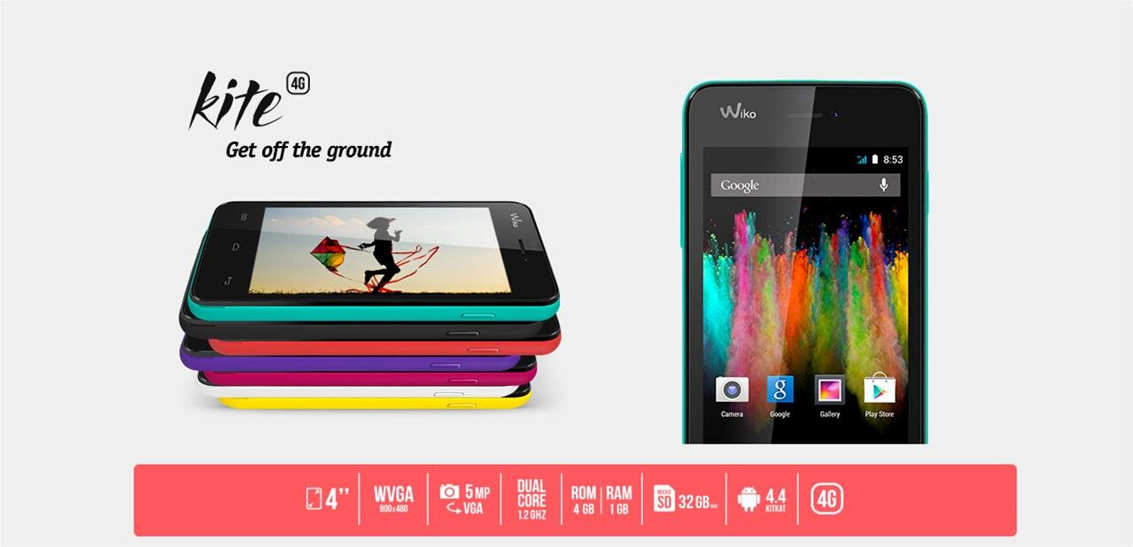 wiko kite un smartphone 4g de 4 pouces avec android 4 4. Black Bedroom Furniture Sets. Home Design Ideas