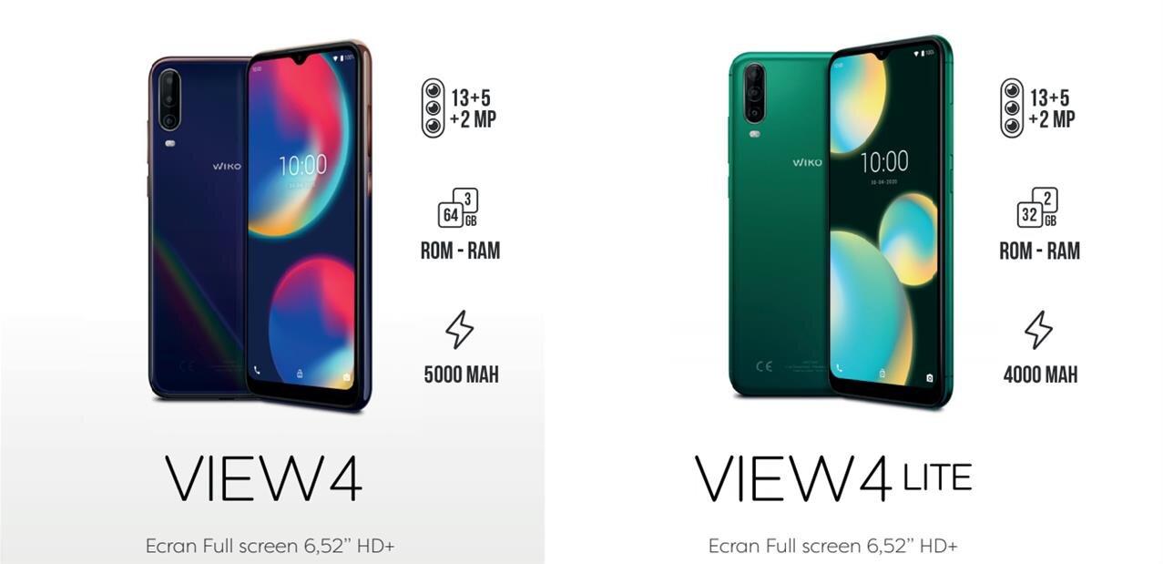 """Wiko View4 (Lite) : Android 10, écran de 6,52"""" et 32/64 Go de stockage, dès 129 euros"""