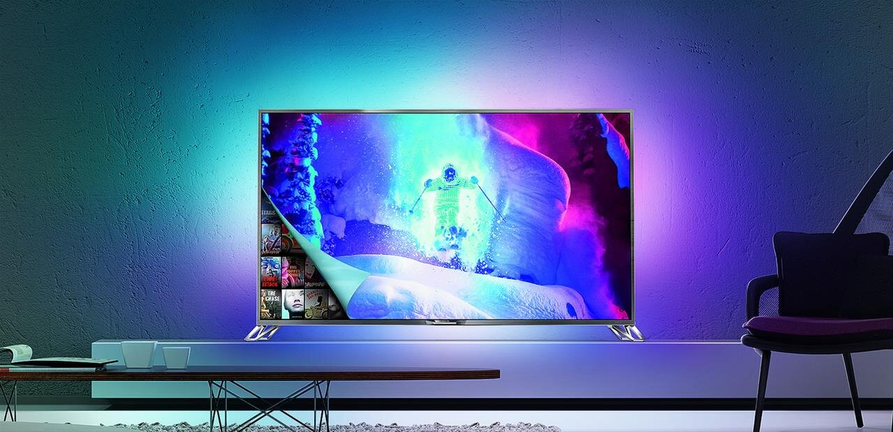 philips tv ambilight 4k ampoules hue et d codeur hevc sous android l. Black Bedroom Furniture Sets. Home Design Ideas