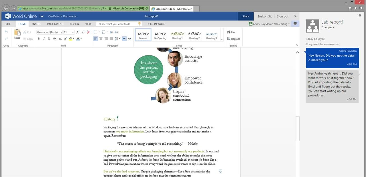 Collaborate for free with online versions of Microsoft Word, PowerPoint, Excel, and OneNote. Save documents, spreadsheets, and presentations online, in OneDrive.