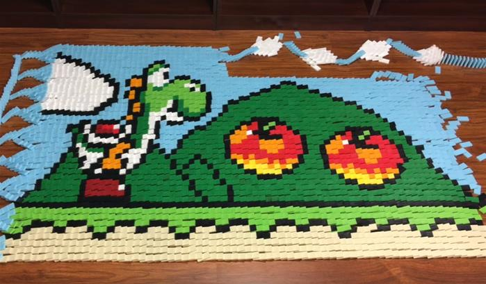 Une fresque de 81 000 dominos pour Super Mario World