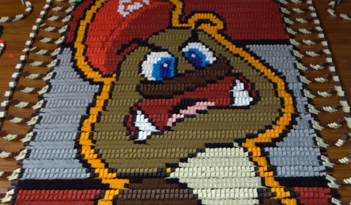 Super Mario Oddysey, en 148 777 dominos